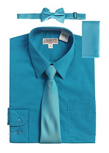 Gioberti - Vestido de Manga Larga para niño + Corbata sólida, Pajarita y pañuelo, Camisa B Turquesa y 3 Accesorios, 2 Años
