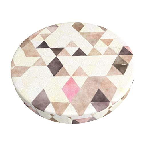 AEMAPE Atmungsaktiver Hockerbezug, Aquarell Tan Mokka Rosa Dreiecke Muster Barhocker Sitzbezüge Elastischer Hocker Kissenbezug 12 Zoll