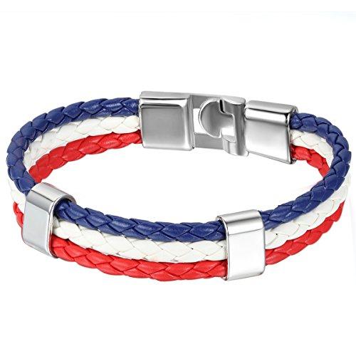 JewelryWe Schmuck Armband, Frankreich Französisch Flagge Armreif, Leder Legierung, für Herren Damen, Weiss Rot Blau