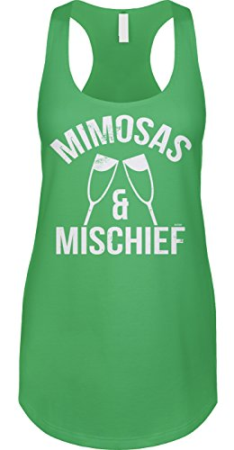 Blittzen Mimosas & Mischief - Drinking BFF Joke Ladies Tank, L, Green
