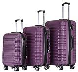 BEIBYE Hartschalen Koffer Trolley Rollkoffer Reisekoffer Zwillingsrollen Kofferset (Violett, Set)