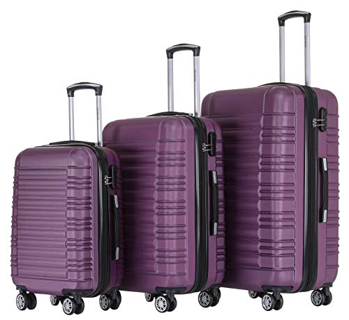 BEIBYE Zwillingsrollen Reisekoffer Koffer Trolleys Hartschale M-L-XL-Set (Violett, Set)