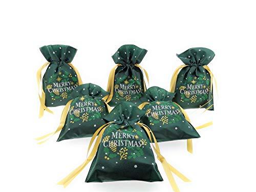 MC Trend 6er Set Geschenkbeutel zum Zuziehen Merry Christmas Geschenkverpackung Weihnachten Geschenk Verpackung (6er Set Geschenkbeutel 40 x 56 cm)