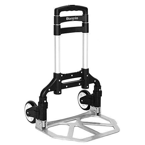 Bonnlo Folding Hand Truck Aluminum Portable Folding Hand Cart 80KG Capacity, Hand Trolley Ideal for Home, Auto, Office, Travel Use (Black)