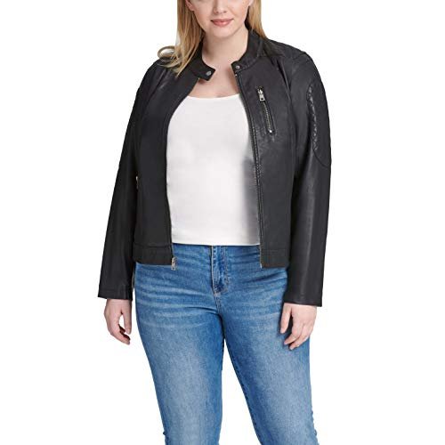 Levi's Women's Size Faux Leather Motocross Racer Jacket (Standard and Plus), Black, 1X