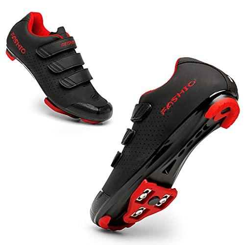 KUXUAN Zapatillas de Ciclismo Zapatillas de Ciclismo de Carretera para Hombre y Mujer Zapatillas de Ciclismo para Interior MTB Zapatillas de Ciclismo de Montaña,Adultos Unisex,Red-42EU