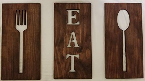 Michigan Warehouse Wooden Kitchen Decor, Cutlery Signs, Stained Brown Kitchen Art, Fork and Spoon Wall Decor, Wood Signs, Kitchen Designs, EAT Sign