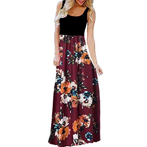 Riou Abito Lungo Donna Estivo Maxi Vestito da Donna Elegante Stampa Senza Maniche O-Collo Casual Tank Long Dress Economiche