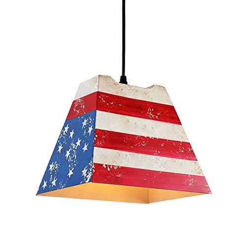 AZWE Amerikanische antike flagge muster kronleuchter e27 pendelleuchte für restaurant küche...