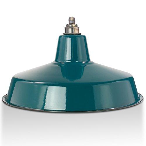 Industrie Lampenschirm Emaille Petrol Blau (2. Wahl), Fabriklampe Ø36 cm inkl. Vintage Fassung aus Messing, Antik-gebürstet