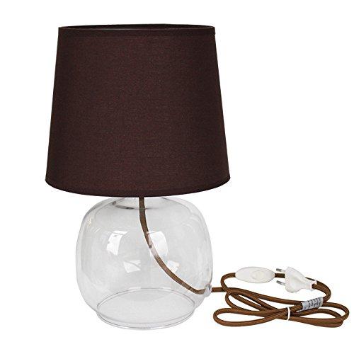 Tischleuchte Wanda Glas 1-flammig braun Tischlampe E27 mit Stoffschirm Höhe 36cm, max. 60 Watt