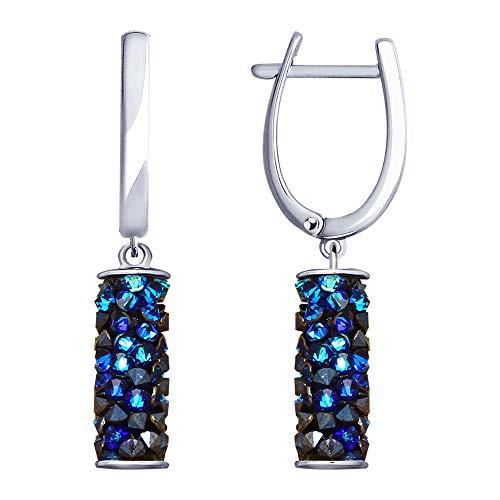 SOKOLOV Jewelry oorbellen dames hangend 925 zilver oorbellen met Swarovski kristallen blauw 3,7 cm lang I edele oorbellen dames echt zilver oorbellen I Exclusief designer merksieraad dames sieraden