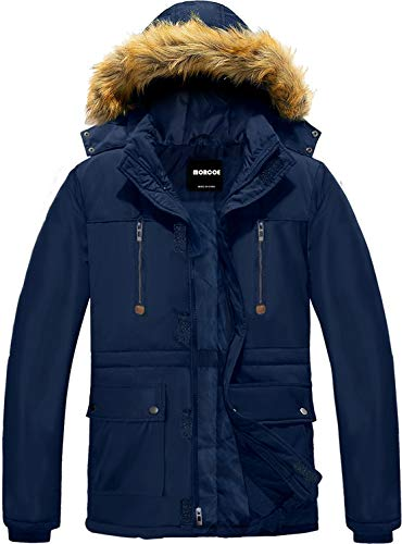 MORCOE Men's Winter Puffer Coat Casual Outerwear Thicken Parka Windproof Outdoor Jacket with Faux Fur Hood(Blue,XL)