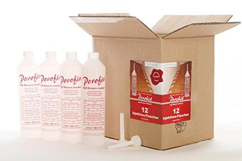 Porofin® Horizontalsperre Karton (Inhalt 6 Flaschen) gegen feuchte Wände zum dauerhaften Keller abdichten/Versandkosten nur 3,79€