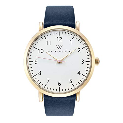 WRISTOLOGY Olivia Gold Womens Watch - for Nurses Large Face Analog Easy to Read Numbers with Second Hand Navy Blue Leather Band