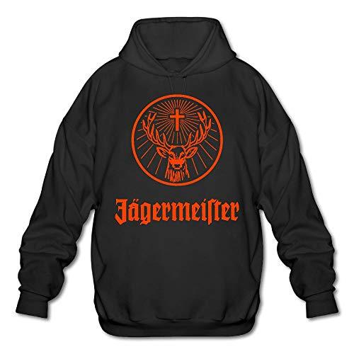 Vito H. Jackson Herren Kapuzen-Sweatshirt Jagermeister Logo, personalisierbar, Schwarz - Schwarz - Small