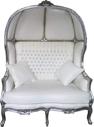 Casa Padrino Barock 2er Ballon Sofa Weiß Lederoptik/Silber - Wohnzimmer Couch Möbel Lounge Hochzeit