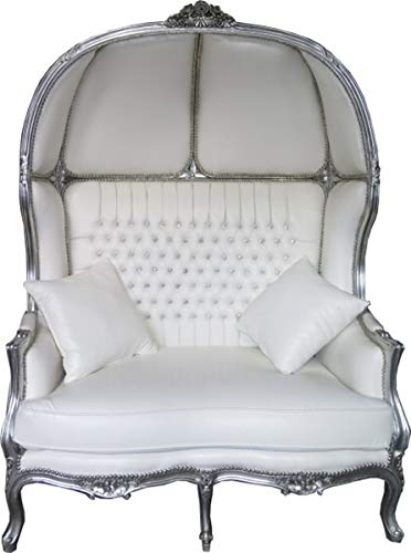 Casa Padrino Baroque 2er Balloon Sofa White Leather Look/Silver - Living Room Couch Furniture Lounge Wedding