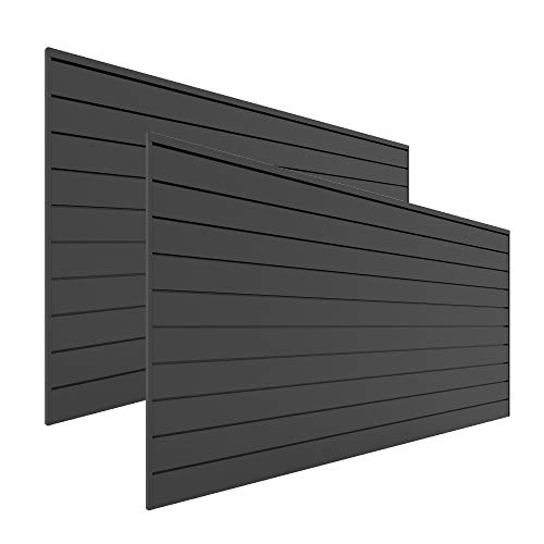 Proslat Garage Storage PVC Slatwall Panels - 2 Packs of 8 ft. x 4 ft. Sections (64 sq.ft) (Charcoal)