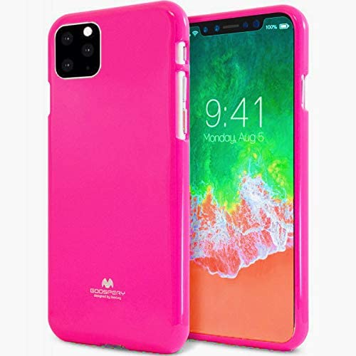 Jelly Series [Thin Slim] Phone Case [Flexible] Pearl Glitter Jelly [Drop Protection] Reinforced TPU Case [Lightweight] Bumper Cover for(iPhone 11 Pro,Neon Pink