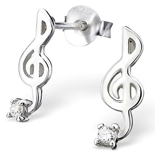 EYS JEWELRY Ohrstecker Damen Notenschlüssel Musik 925 Sterling Silber Zirkonia kristall-weiß Damen-Ohrringe