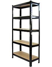T-Rax Stellingkast - 75x30x150 cm - 100% boutloos - Draagkracht: 150 kg per plank - Opbergrek metaal