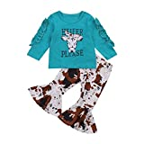 Toddler Kids Baby Girl Outfit Set Long Ruffle Sleeve Printed Cartoon Heifer Top Flared Pants Fall Winter 2Pcs Clothes Set (Blue, 2-3 Years)