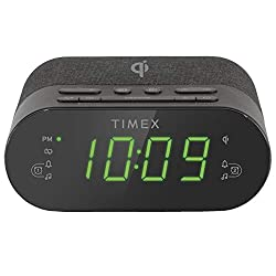 Timex Wireless Charging Alarm Clock Radio with USB Charging Port, Dual Digital Alarms, 10 FM Presets, Dimmable with Sleep Timer and Battery Backup (Model TW500)