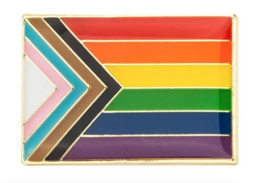 Gay & Lesbian Pride Rainbow LGBT LGBTQ Flag Lapel Pin (Progress Pride 1' Rectangle)