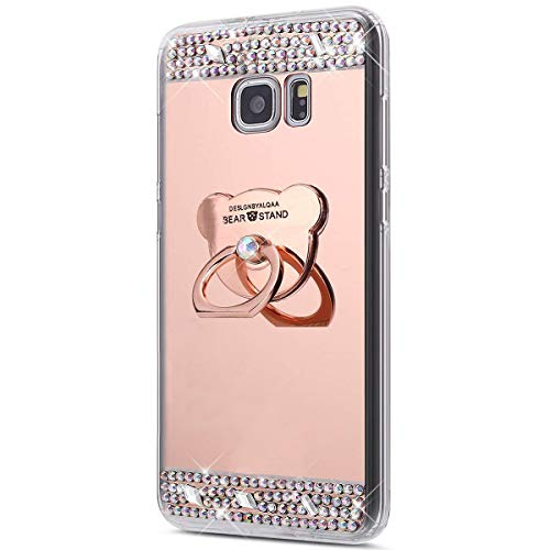 Coque Galaxy Note 5,Surakey [360 Rotation Bague bâton support] Bling Paillette Glitter Strass Miroir Housse Coque Silicone TPU Etui Téléphone Coque Housse pour Samsung Galaxy Note 5, Or Rose