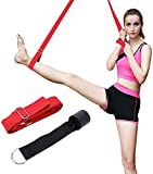 DEIRIS Long Adjustable Leg Stretcher Yoga Strap with 3m for Pilates Workouts Gymnastic Equipment With The Door Anchor Yoga Belt Straps Training Stretching Flexibility Balance (Red)