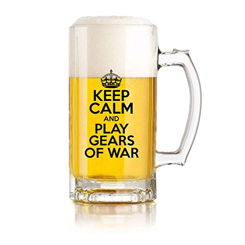 Jarra de cerveza de vidrio para restaurante, jarra de cerveza para juegos de pelota Keep Calm and Play Gears of WAR Theme