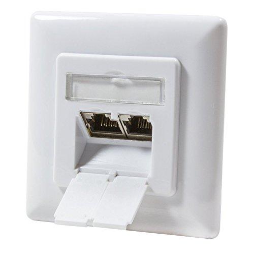 odedo® CAT 6A 10 Gigabit 500Mhz Universal Netzwerkdose Unterputz 2X RJ 45 voll geschirmt 10 Gigabit Signal Weiß, AWG 22-24, PoE LAN, Network Wall Outlet