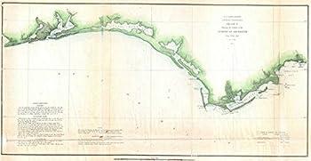 Imagekind Wall Art Print Entitled Vintage Florida Panhandle Coastal Map  1852  by Alleycatshirts   32 x 16