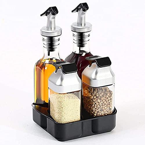 Salt&Pepper Fles,Oil&Azijn Fles,Azijn Cruet Set met Houder-Roestvrij staal &Glas-5 stuks-stijl 1 Kruiden potten WSYGHP…