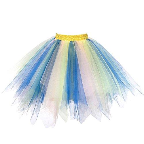 Honeystore Damen's Tutu Unterkleid Rock Abschlussball Abend Gelegenheit Zubehör One Size Rötlich-Blau Rosa und Hellgrün