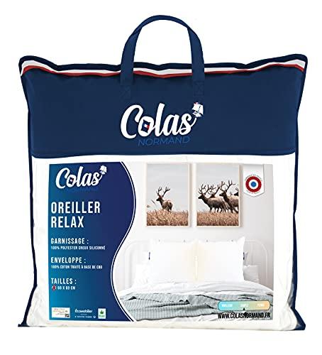 Colas Normand – Almohada Relax – 60 cm – 100% algodón – CBD – Aceite de Origen Vegetal ecológico – Relaxación – Confort – Bienestar – Fabricación Francesa