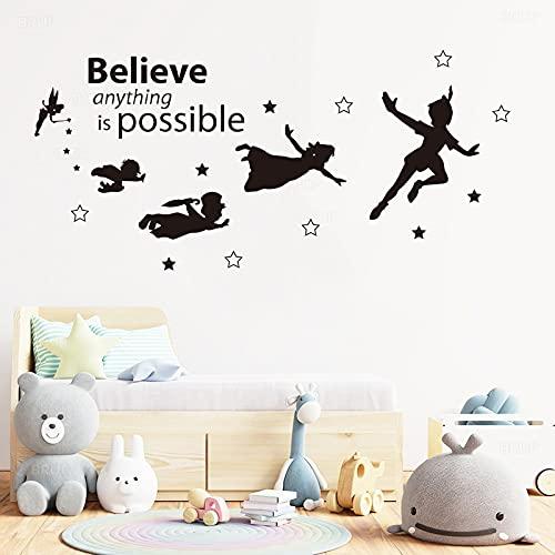 Adesivi murali scolpiti in vinile Ali per bambini Decalcomania artistica Poster Camera dei bambini Carta da parati Adesivi per sfondo casa di moda A1 55x120 cm