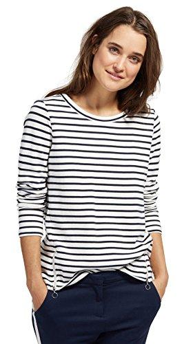 TOM TAILOR Damen Striped sweatie with zips Sweatshirt, Blau (Real Navy Blue 6593), Medium