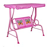 Obrecis Kids Patio Swing, 2 Seats Porch Swing with Safety Belt, Children Outdoor Lounge Chair with Canopy, Hanging Swing Bench Patio Hammock for Kids Garden Poolside Balcony-Butterfly Pink