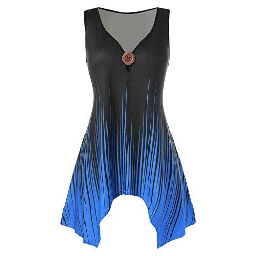Xniral Damen Tops Ärmellos Farbverlauf Tanktop Drucken Übergröße Sommer Lose Shirt Tie-Dye Bluse mit V-Ausschnitt und Sling Weste(b-Blau,L)