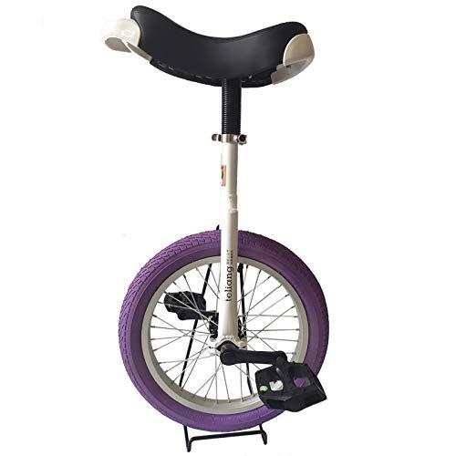 Monociclo Monociclo de Rueda para Niños de 16 Pulgadas, Niños Niñas de 5/6/7/8 Años Uni-Cycle con Borde de Aleación, Altura del Niño de 3,9 a 4,3 Pies, Neumático de Color de Moda ( Color : Purple )