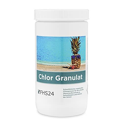 FHS24 Chlor Granulat 1kg schnelllöslich Chlorgranulat Desinfektion Chlorung Pool Wasserpflege Poolpflege