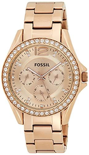 Fossil Women's Riley Quartz Stainless Steel Multifunction Watch, Color: Rose Gold Glitz (Model: ES2811)