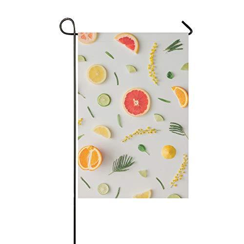 JOCHUAN Accueil décoratif en Plein air Double Face Aliments colorés Fait Citron Orange Garden Flag pavillon de Jardin de Maison décorations de Jardin saisonnier Bienvenue Drapeau extérieur