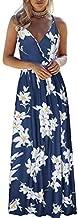 OUGES Womens Summer Deep V Neck Floral Adjustable Spaghetti Strap Beach Maxi Dress(Floral03,S)