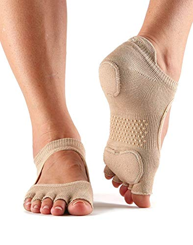 Fitness Mad ToeSox Half Toe Prima Bellarina Five Dance Grip Socken, Nude, Größe S