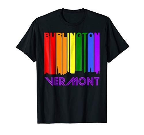 Burlington Vermont LGBTQ Gay Pride Rainbow Skyline T-Shirt