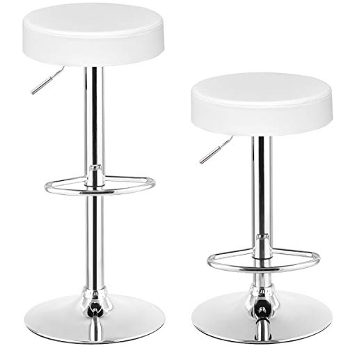 COSTWAY Swivel Bar Stool, Round PU Leather Height Adjustable Chair Pub Stool with Chrome Footrest Set of 2 (White, 2 pcs)