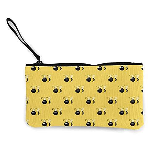 Amarillas abejas lindas lona Smartphone muñequeras dinero monederos maquillaje bolsa de embrague teléfono móvil con correa de muñeca